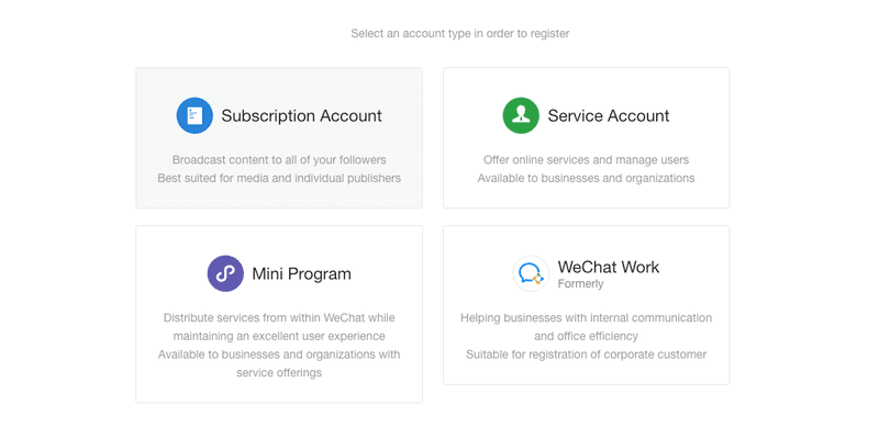 Register a WeChat Official Account – Account Type Selection